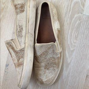 Frye sneaker shoes. White Cow look.